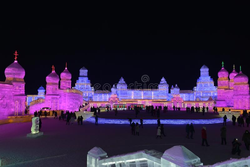 Harbin International Ice and Snow Sculpture Festival 2018. The Harbin International Ice and Snow Sculpture Festival is an annual festival that takes place in stock photo