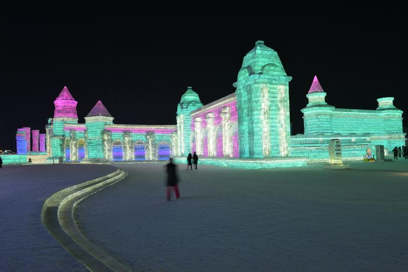 Harbin International Ice and Snow Sculpture Festival 2018. The Harbin International Ice and Snow Sculpture Festival is an annual festival that takes place in royalty free stock image