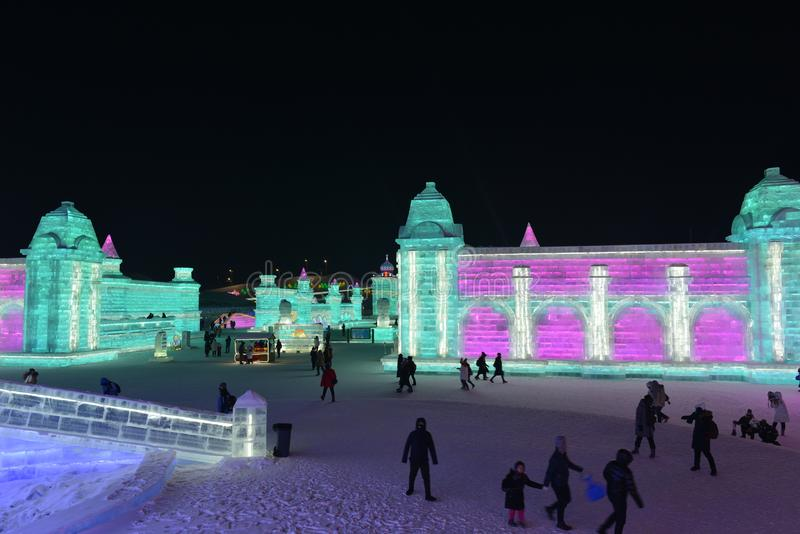 Harbin International Ice and Snow Sculpture Festival 2018 stock photography