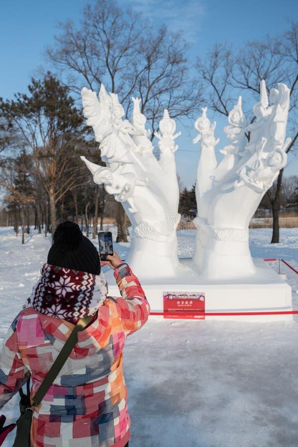 Harbin isfestival 2018 - ta fotois- och snöbyggnader, gyckel som åka släde, natt, loppporslin fotografering för bildbyråer