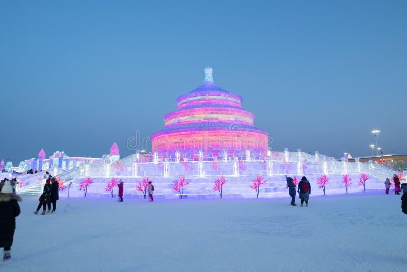Harbin Lodowy i śnieżny festiwal 2018 - zamraża jak szklany dnia światło słoneczne obraz stock