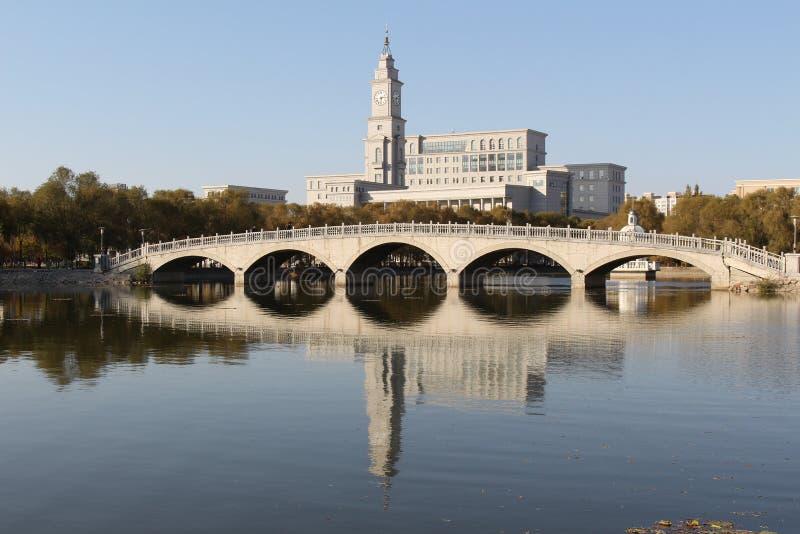 Harbin Normal University Bridge and lake. The spring with The Harbin Normal University`s Bridge and lake,and beautiful view stock image