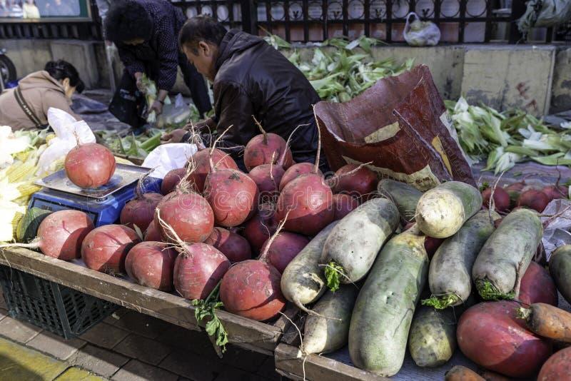 Harbin farmers market vegetables on the street royalty free stock image