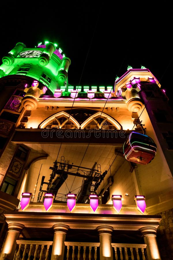 Harbin swan castle cablecar building, colorful lighting LED royalty free stock images