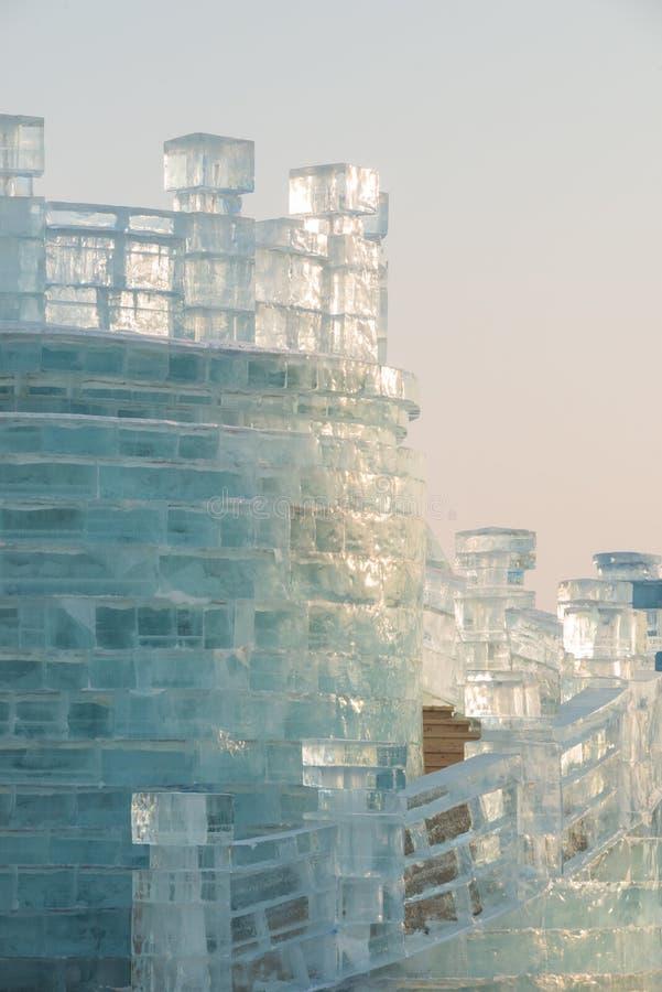 Harbin Zamraża festiwalu 2018 lodowych i śnieżnych fantastycznych budynki, zabawa, sanna, noc, podróży porcelana - słońce przez l obraz stock