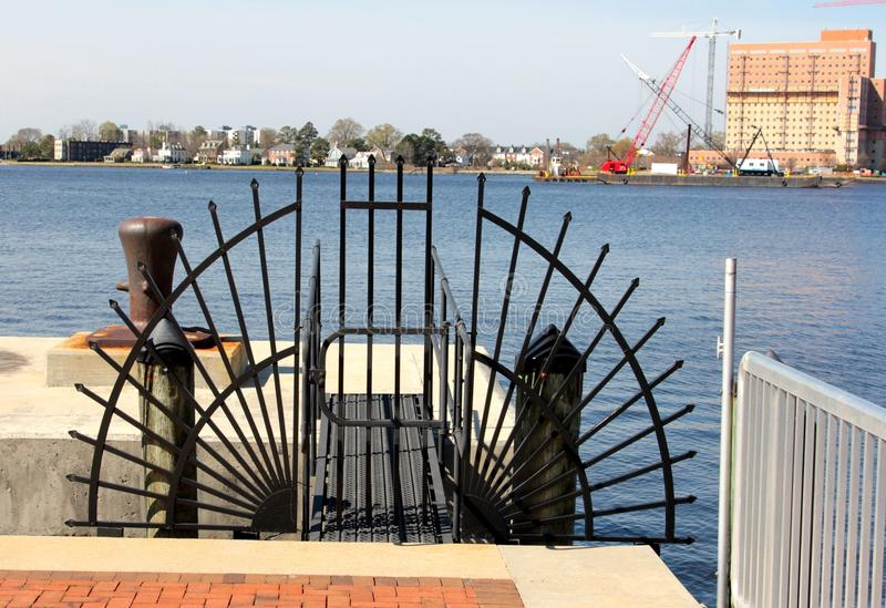 Harbor Access Point Entrance Gate, Downtown Norfolk Virginia royalty free stock photo