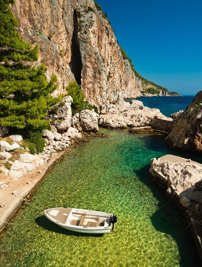 Harbor at Adriatic sea. Hvar island, Croatia royalty free stock image
