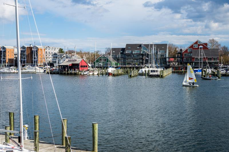 Harbor Area of Annapolis, Maryland on a cloudy spring day with s. Ail boats stock photo