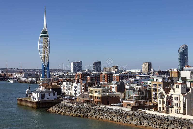 Portsmouth - United Kingdom. The harbor area and Spinnaker Tower in the city of Portsmouth on the south coast of England in the United Kingdom royalty free stock photos