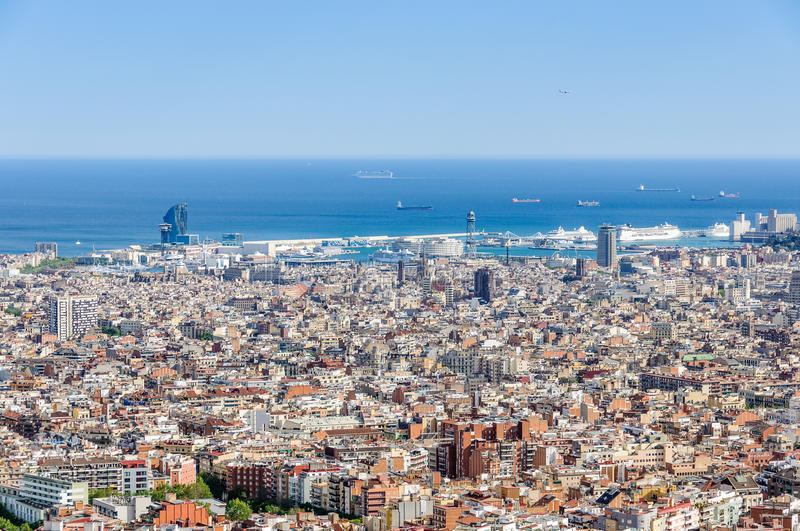 The harbor area from Turo del Rovira in Barcelona, Spain. The city center and the harbor area from the hill of Turo del Rovira in Barcelona, Catalonia, Spain stock images