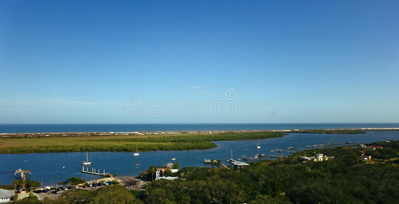 Harbor Bay Aerial Panorama View in the Ocean royalty free stock photo