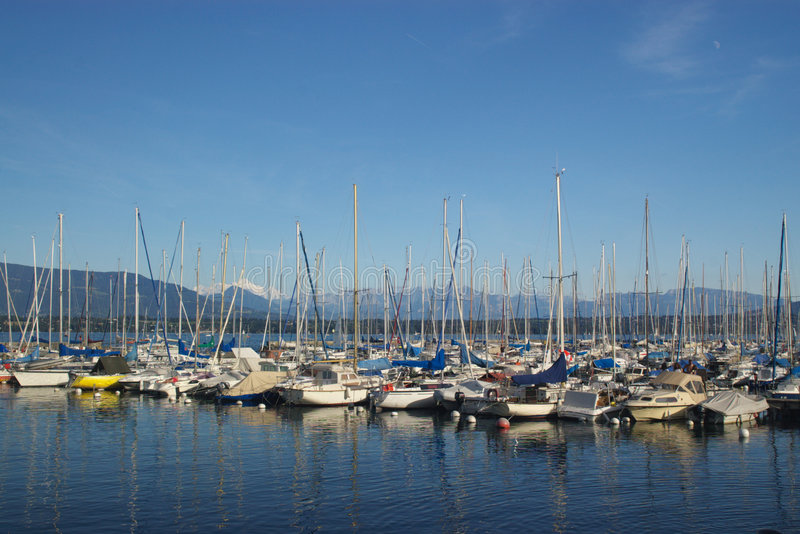 Harbor with boats stock images