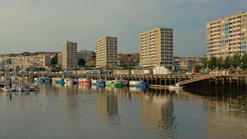 Harbor of Boulogne Sur Mer, France stock images