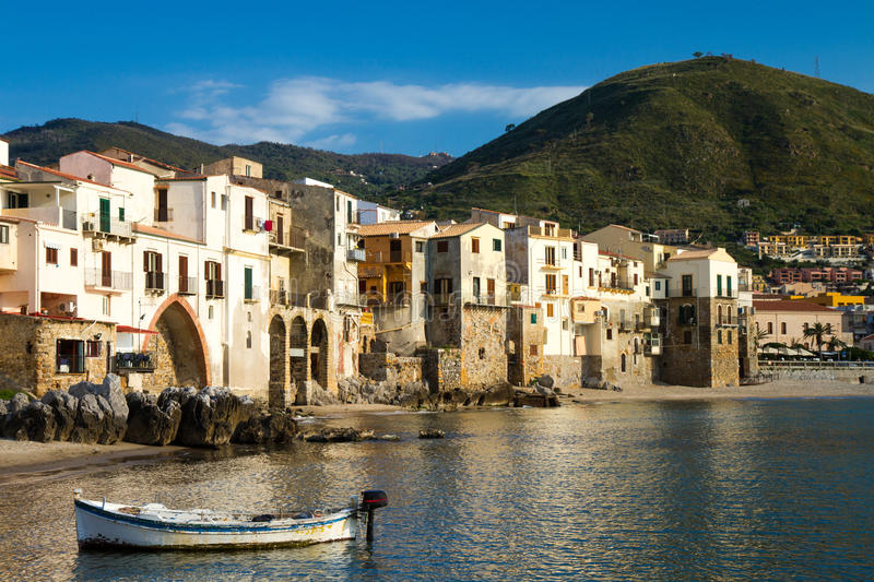 Harbor of Cefalu royalty free stock photography