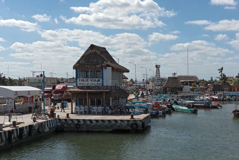 The harbor of chiquila, quintana roo, mexico.  royalty free stock photos
