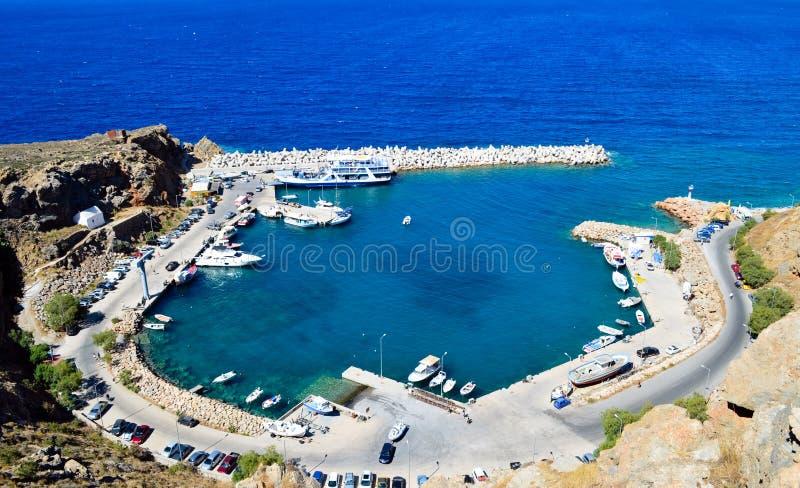 Harbor of Chora Sfakion royalty free stock photography