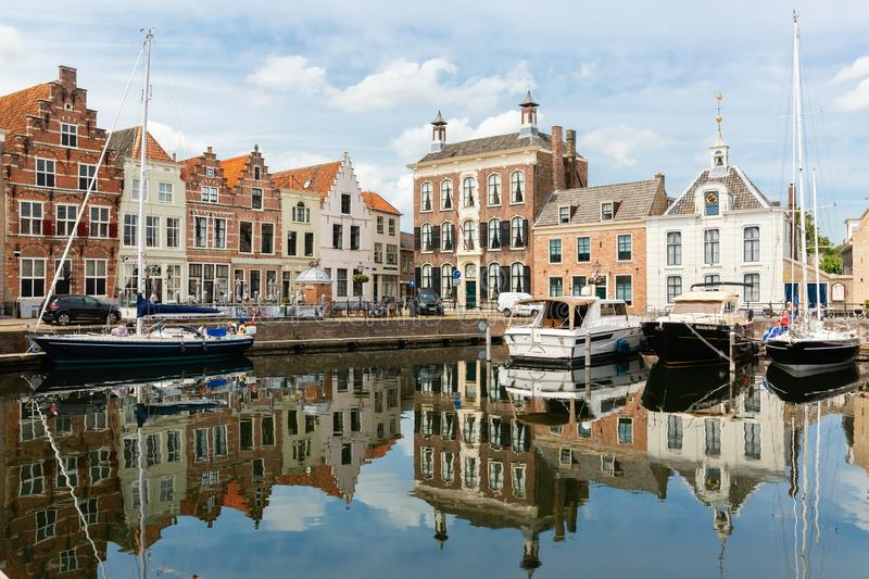 Harbor in the city of Goes, Zeeland, Netherlands. Goes, Netherlands - June 09, 2019: harbor in Goes, with unidentified people. The inner city of Goes is rich of royalty free stock photography
