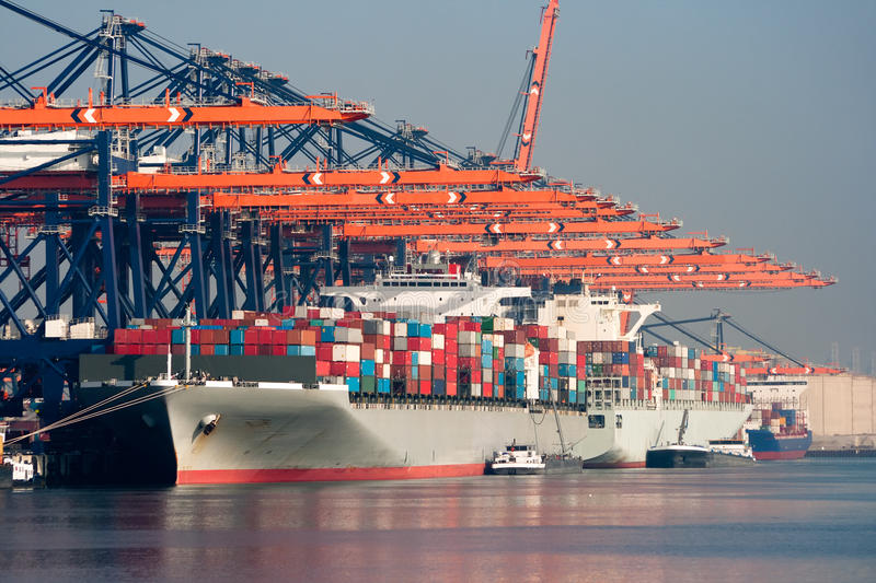 Harbor container ships royalty free stock images