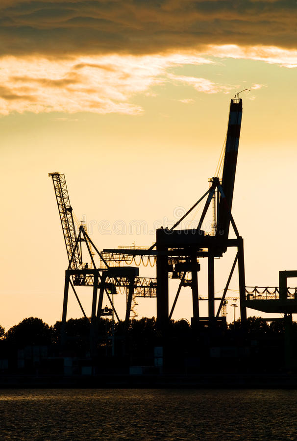 Download Harbor crane silhouettes stock photo. Image of motionless - 9636832