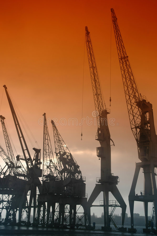Download Harbor cranes stock photo. Image of cloud, manufacturing - 3607916