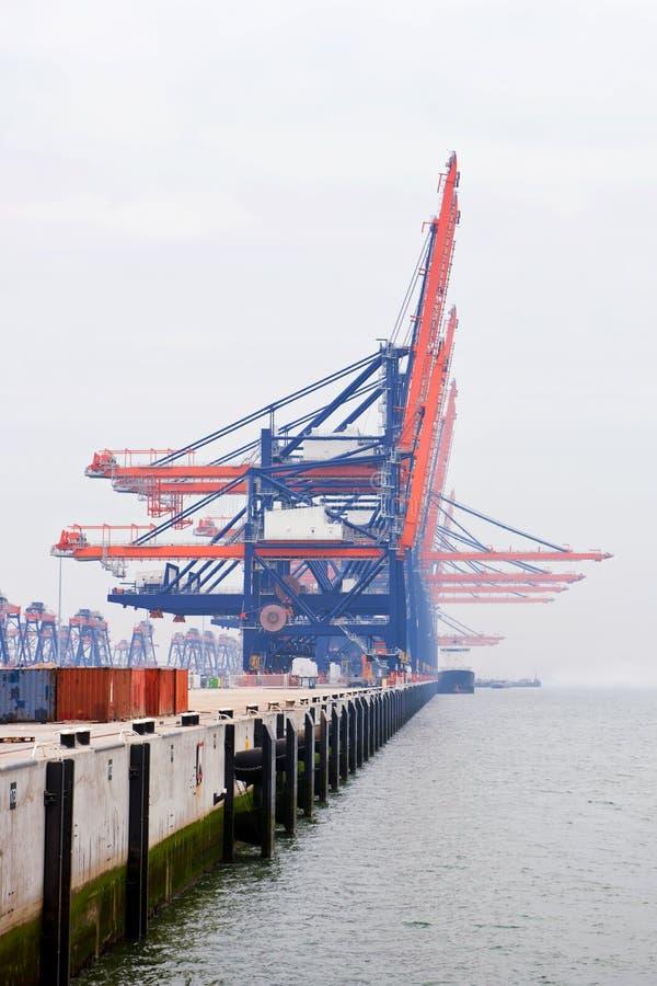 Download Harbor cranes in the mist stock image. Image of export - 12646029