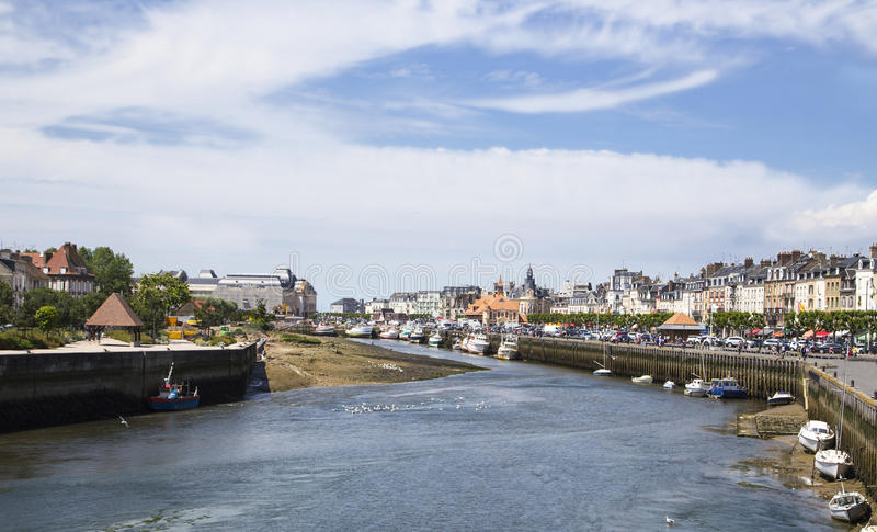 Harbor of Deauville and trouville. In France royalty free stock photography