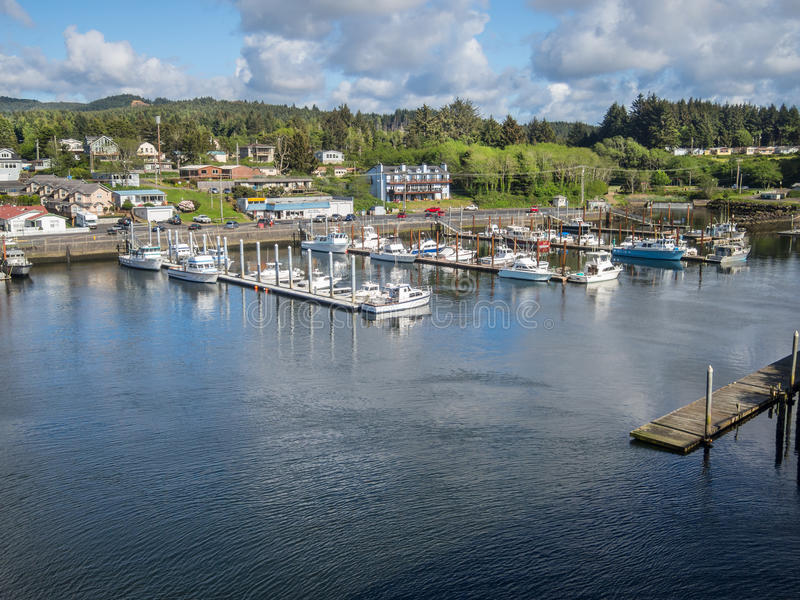The harbor at Depoe Bay, Oregon. View of Depoe Bay, Oregon harbor - World's smallest harbor stock image
