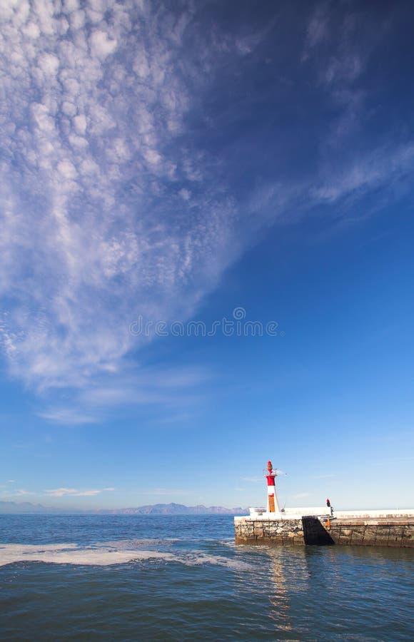 Harbor entrance lighthouse stock photo