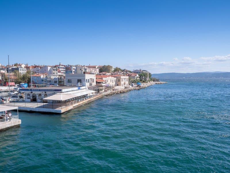 Harbor of Gelibolu, Canakkale, Turkey, and the Dardanelles Strait. Canakkale, Turkey - October 06, 2018: The scenery at the harbor of Gelibolu with the buildings royalty free stock photos