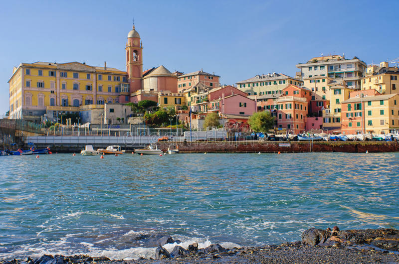 Harbor of Genoa Nervi at sea level. Sea level view of the central part and the harbor of Genoa Nervi, a former fishing village and present seaside resort stock photography