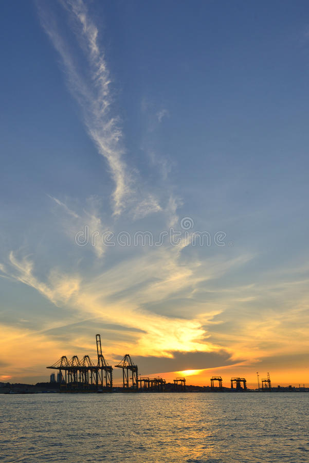 Download Harbor With A Golden Sunrise View- Singapore. Stock Photo - Image: 38771020