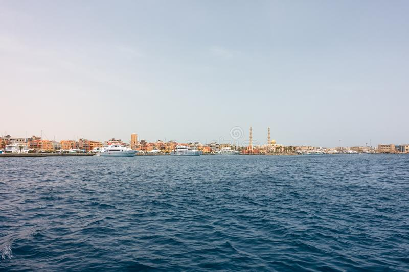 Harbor of Hurghada in Egypt royalty free stock photo