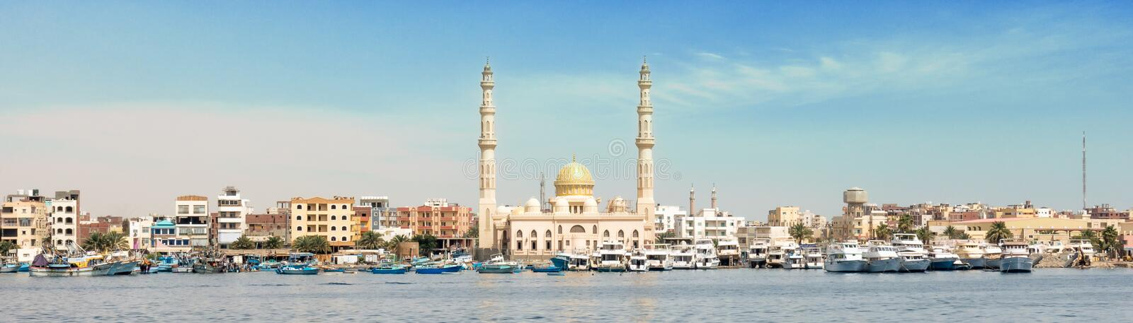 Harbor of Hurghada in Egypt stock image