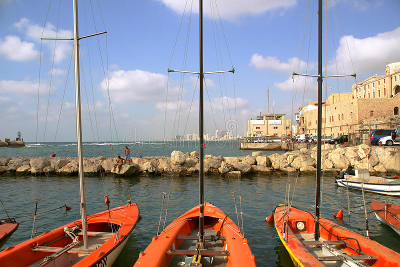 Harbor of Jaffa. Boats on old harbor of Jaffa in Israel stock photography