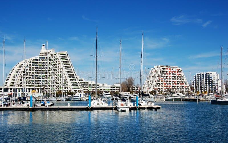 The harbor of La Grande Motte, France stock photo