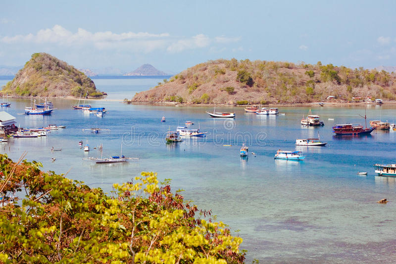 Harbor in Labuan Bajo, Indonesia royalty free stock photos