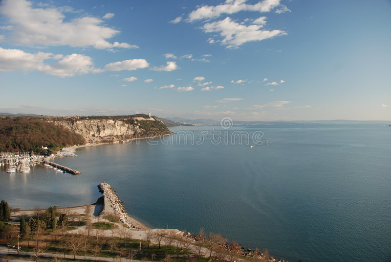 Harbor landscape and clouds. Harbor landscape with sea, cliffs and clouds from Sistiana (Italy royalty free stock images