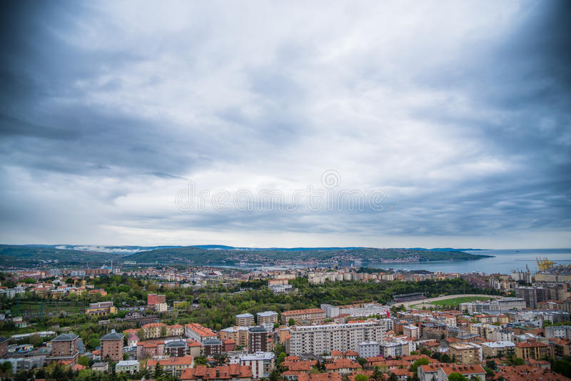Harbor landscape and clouds stock image