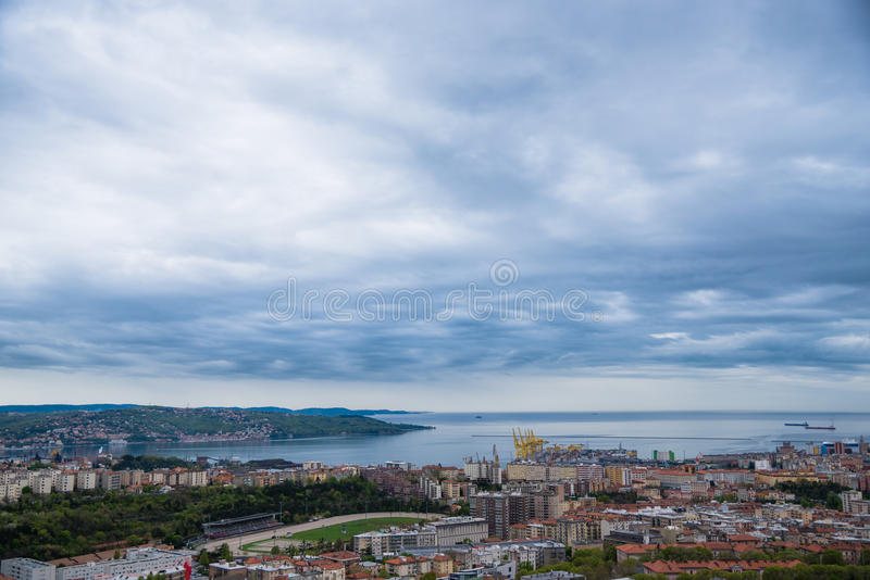 Harbor landscape and clouds royalty free stock photo