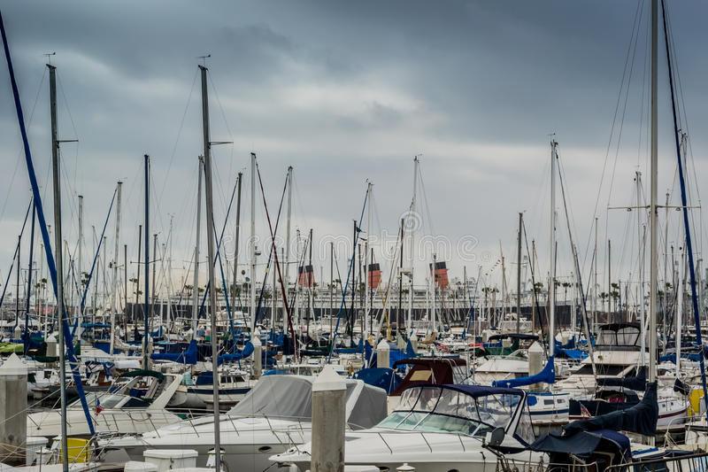 Harbor in Long Beach. Boats in storage in the Long Beach Harbor royalty free stock photo