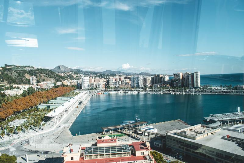 The harbor of Malaga during November stock image