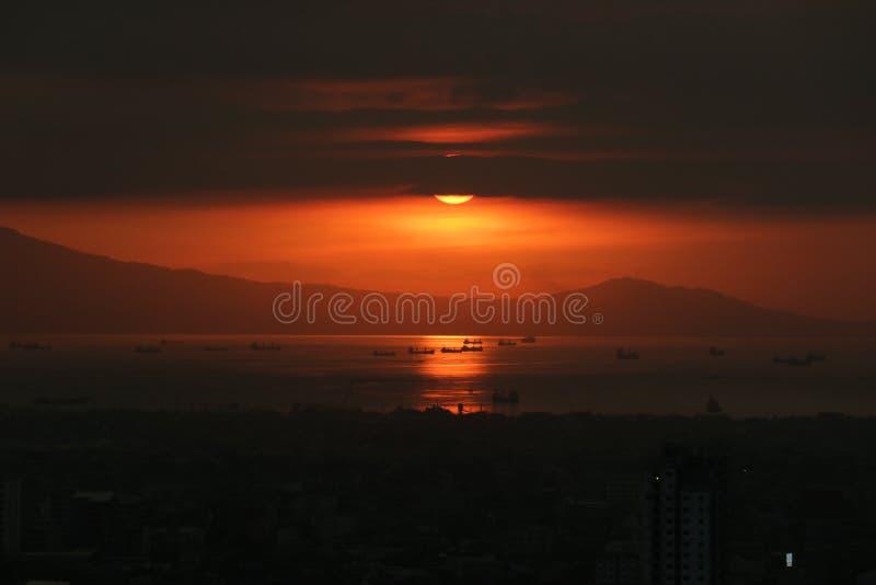 Harbor, Manila Philippines. Sunset in South Harbor, Manila Philippines stock photos