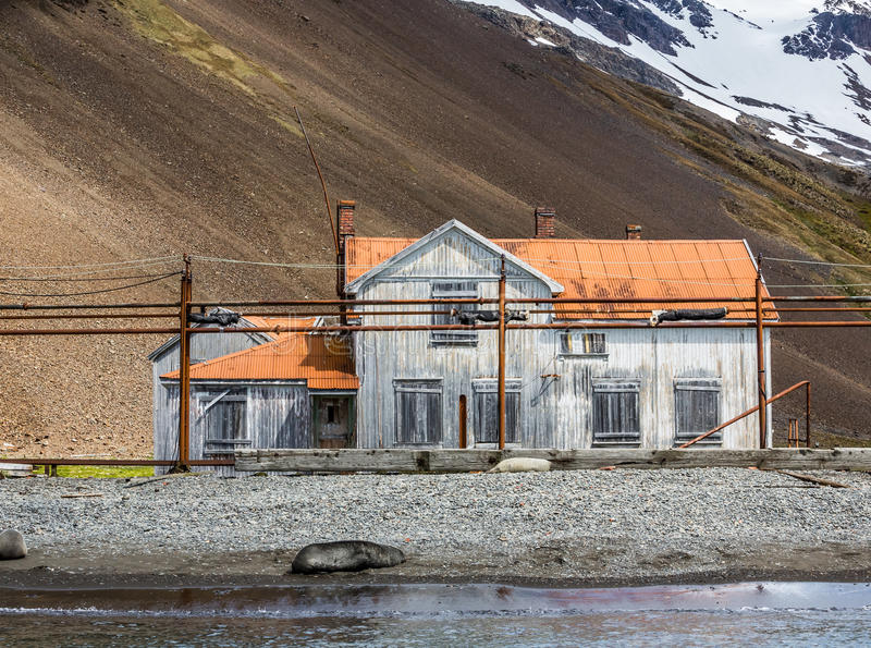 Harbor Masters house on Stromsness Island, South Georgia. In Southern Atlantic Ocean stock photo