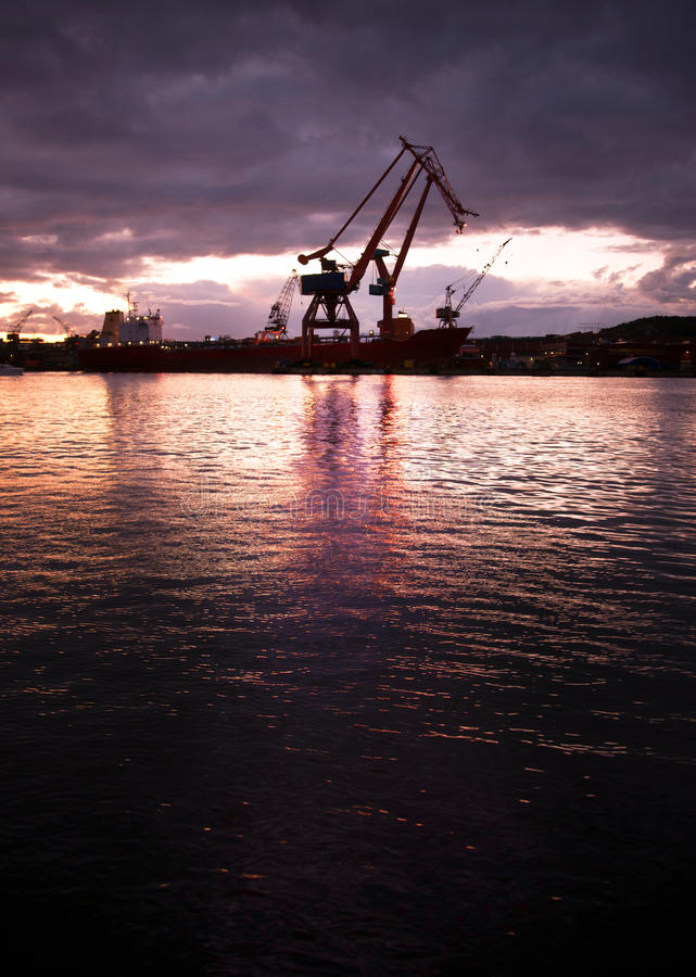 Harbor at night royalty free stock photography