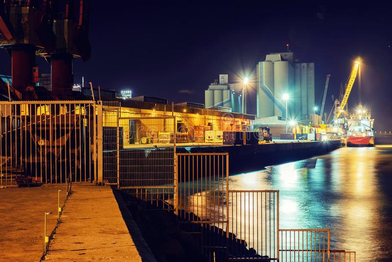 harbor at night long exposure stock photos