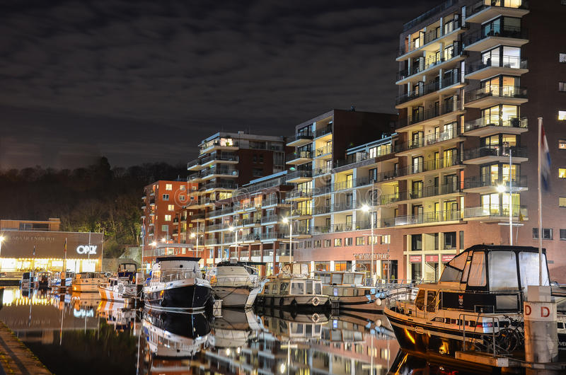 Harbor by night stock images