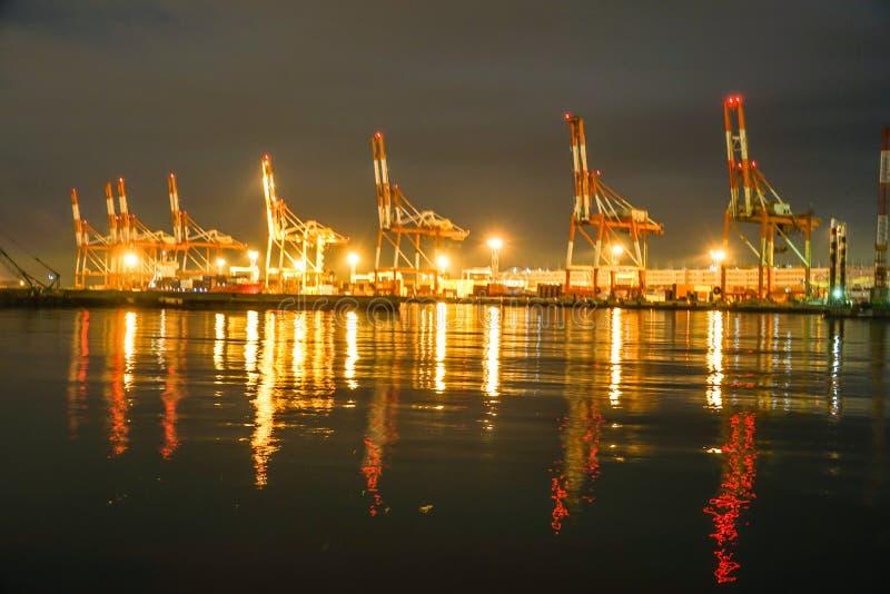 Harbor night view of the Daikokufuto royalty free stock image