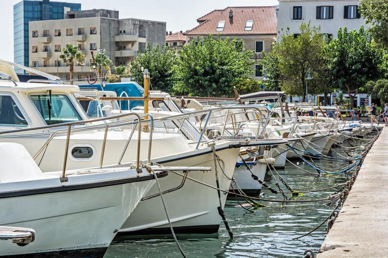 Harbor with passenger ships in Split, Croatia. Travel destination. Summer vacation royalty free stock photography