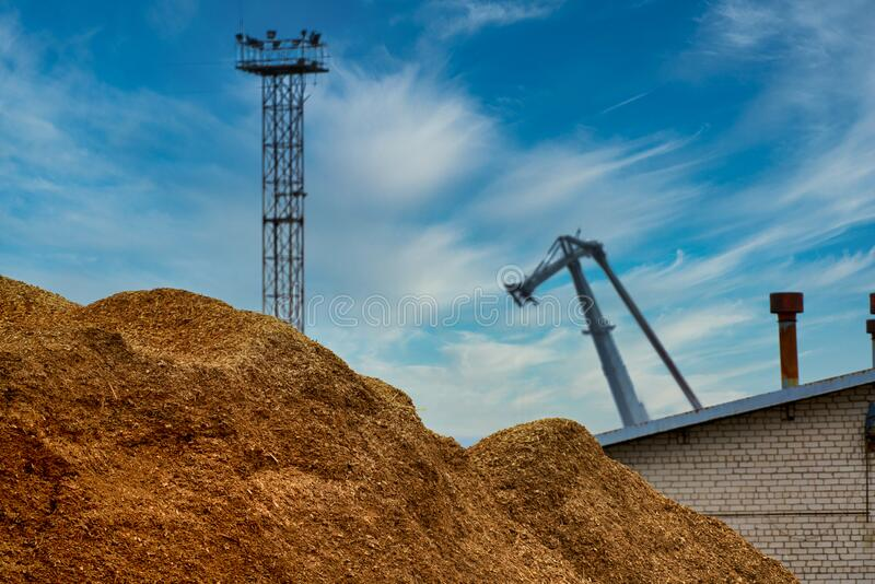 Harbor port with load of load of fuel chips wood chips.  stock photos