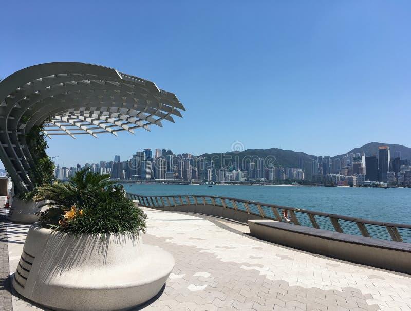 Harbor Promenay, Hongkong arkivfoto